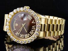 18K Mens Yellow Gold Rolex Presidential Day-Date 36MM Roman Diamond Watch 7.1 Ct