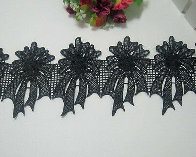 "4.5""* 2yards Flower Black Venise Lace Trim Beautiful Wide Trim"