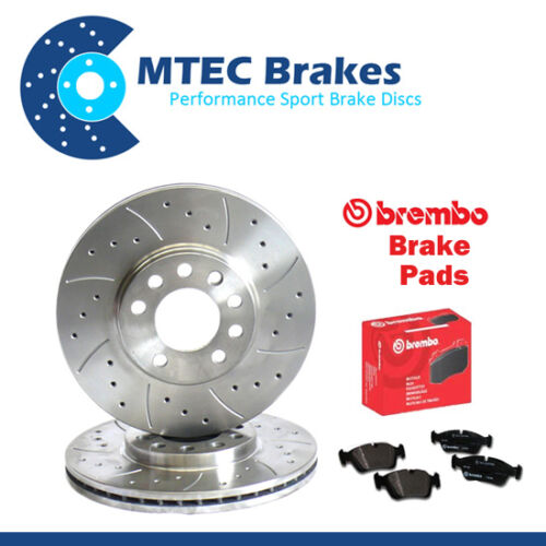 BMW E36 328i 02//95-07//99 Front Drilled /& Grooved Brake Discs /& Brembo Pads