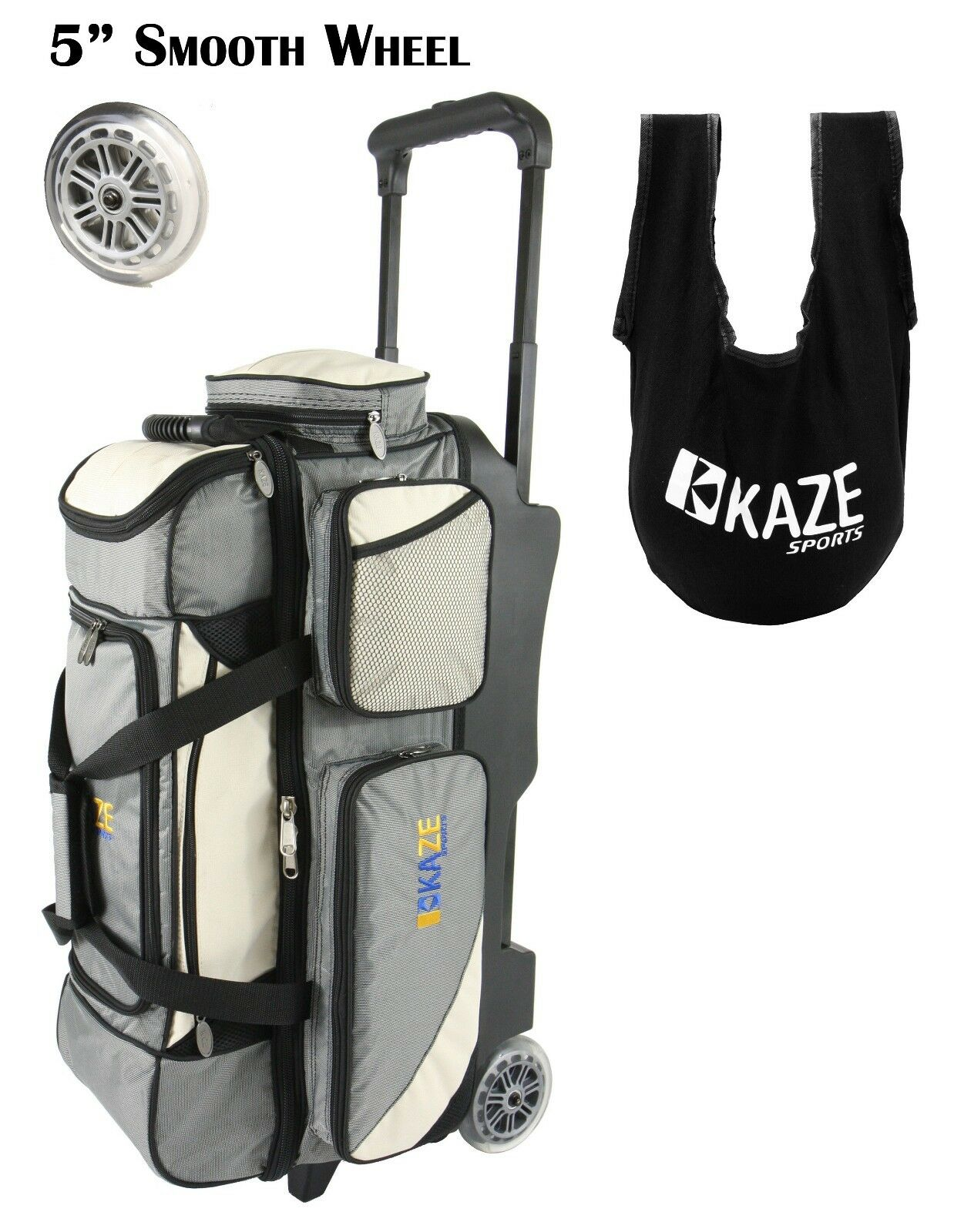 KAZE SPORTS Deluxe 3 Ball Roller Bowling Bag with Smooth PU Wheels + SEESAW