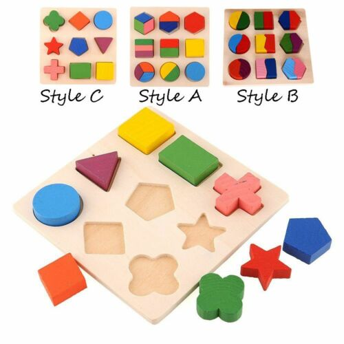 Sorting Shapes Matching Building Blocks Puzzle Game Wooden Geometric Board Toy