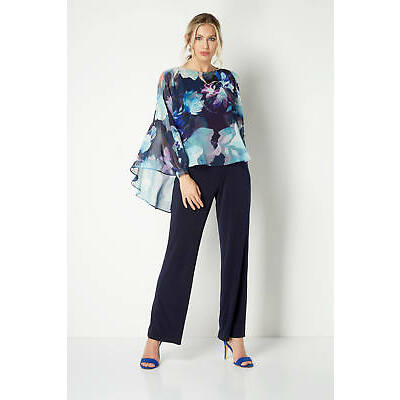 be9204af9fd Roman Originals Floral Print Overlay Jumpsuit Navy Blue Sizes 10 - 20