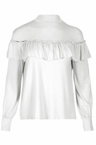 Ladies Pullover Ruffle Frill T Shirt Womens Full Sleeve Cuff Baggy Oversized Top