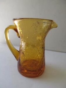 Details About Topaz Gold Rainbow Crackle Glass Hand Blown Small Glass  Pitcher / Creamer