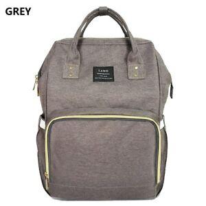 Grey LAND Fashion Nappy Mummy Backpack Diaper Bag Baby Newborn Tote ... 257b04e674801