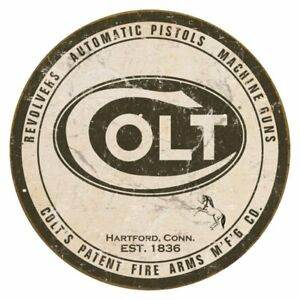 Colt-Round-Logo-Vintage-Retro-Tin-Metal-Sign-12-x-12in