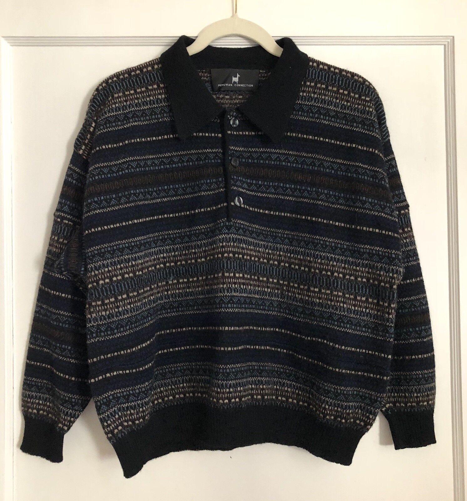 Herren Peruvian Connection 100% Alpaca Pullover Sweater Größe M