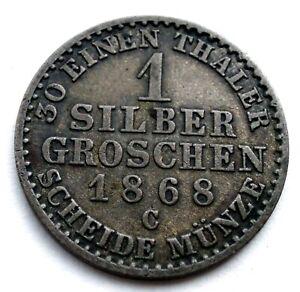 GERMAN STATES PRUSSIA 1 GROSCHEN 1868 C Silver KM#485 Wilhelm I. TT9.3