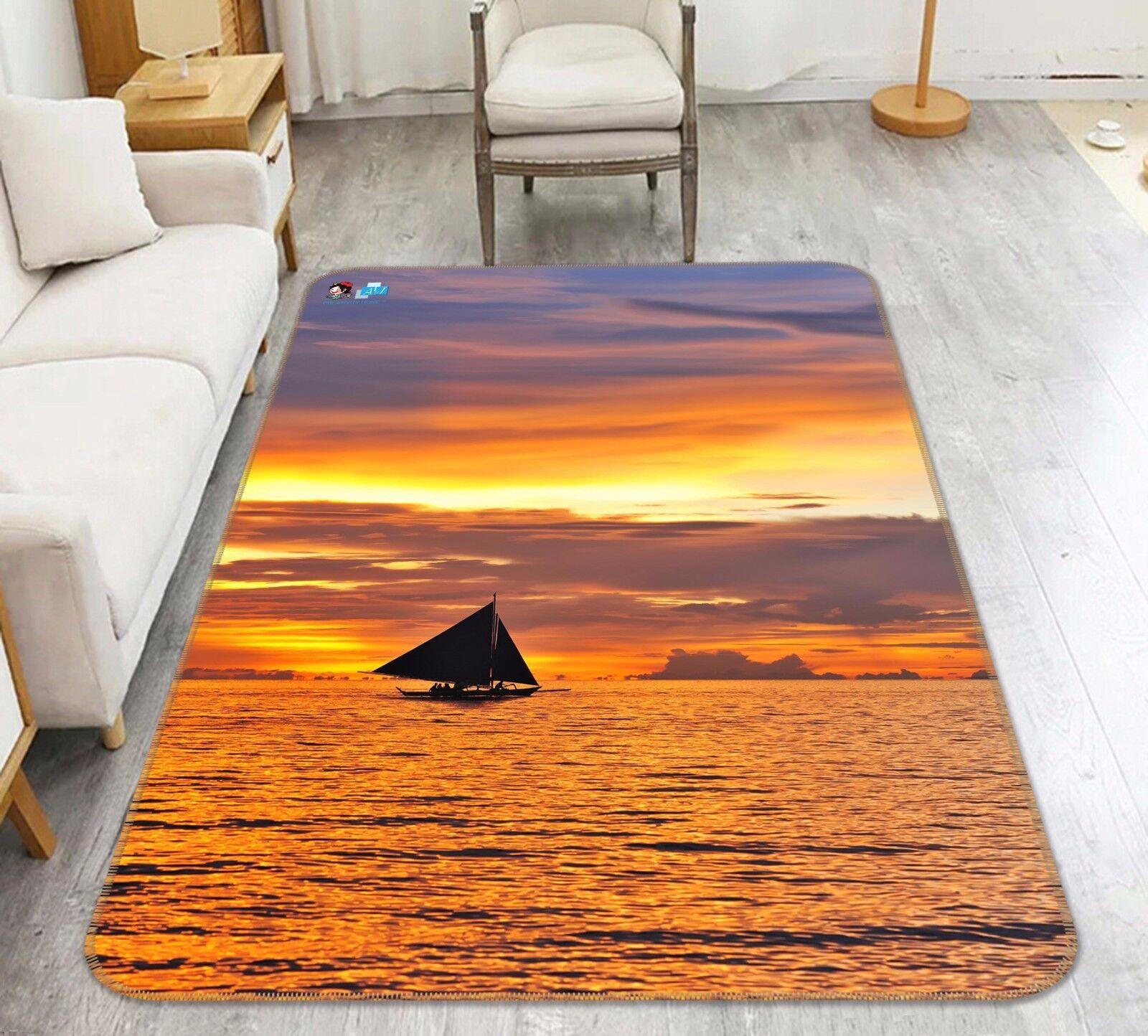 3D Sunset Sailboat Sea 7 Non Slip Rug Mat Room Mat Round Elegant Photo Carpet CA