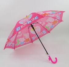 Girls Peppa Pig Princess Crown Childrens Pinch Proof Rain Umbrella Brolly Pink