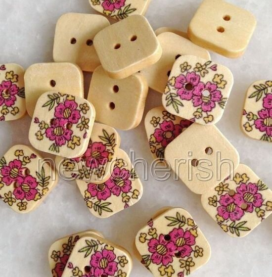 100Pcs Mixed Color 2 Holes Flower Shape Wood Button Fit Sewing Scrapbook ynk253