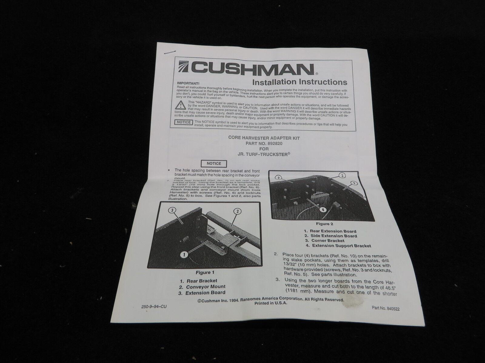 Jacobsen Truckster Wiring Diagram Golf Cart Cab Cushman Part 892820 Ryan Core Harvester Adaptor On