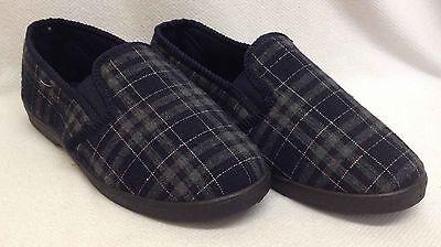 Para Hombres Caballeros Azul Marino Zapatillas Completo Suela Dura De Interior Acogedor Cálido plana Resbalón en Zapatos Talla
