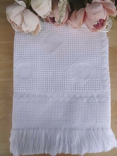 Baby Girl Boy White Christening Shawl Teddy Bear Embossed Pattern Fringe 122x122