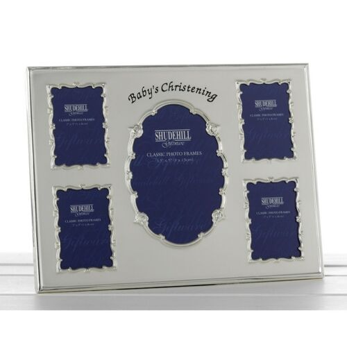 2 Tone Silver Plated Multi 5 Apertures Photo Frame Baby Gift
