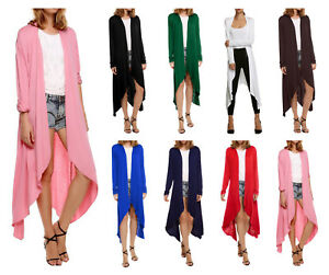 Fashion-Women-Long-Sleeve-Cardigan-Open-Front-Draped-Solid-Casual-Irregular-Hem