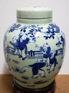 Chinese-Old-Blue-and-White-Porcelain-Ginger-Jar