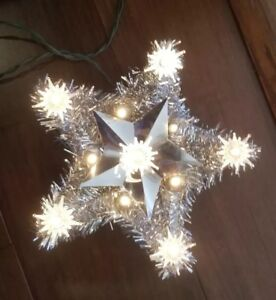 Details About Vintage Christmas Tree Topper Foremost Industries Lighted Star Silver Tinsel