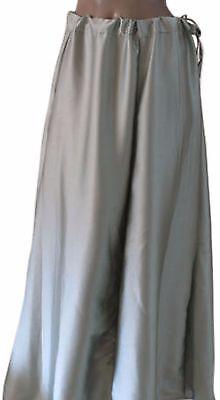 Grey  Luxurious soft satin skirt sari Petticoat Underskirt belly dancing  slip