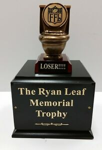 Last Place Fantasy Football Perpetual Toilet Trophy - 6, 12, 18 or No Plates