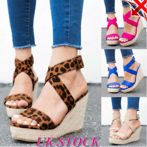 Womens-Summer-Shoes-Leopard-Print-Wedge-High-Heels-Sandals-Ankle-Strap-Sandals
