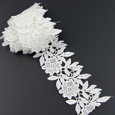 2Yards Off White Sewing Craft Fabric Polyester Flower Venise Lace Trim Applique