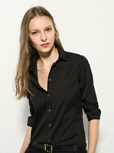 3c5fcf7fe30358 MASSIMO DUTTI (ZARA GROUP) BLACK BASIC PLAIN STRETCH SHIRT 2017 Ref ...
