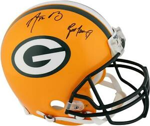 Aaron Rodgers & Brett Favre GB Packers Dual Signed Riddell Pro-Line Helmet
