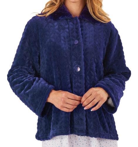 Slenderella Ladies Bed Jacket Faux Fur Collar Soft Fleece Button Up Housecoat