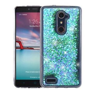 huge selection of 091ae f5190 Details about Hearts & Blue Quicksand Glitter Cover ZTE Z981 Zmax Pro ZTE  Z983 Blade X Max