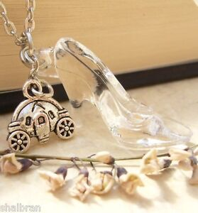 Cinderella glass slipper pumpkin carriage inspired necklace acrylic image is loading cinderella glass slipper pumpkin carriage inspired necklace acrylic aloadofball Gallery