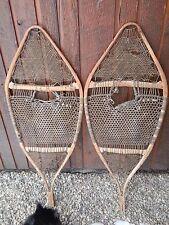 """Vintage Snowshoes Great Set of Wall Hangers 41"""" Long Hand My By Huron Indians"""