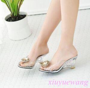 Women-Clear-High-Wedge-Heel-Open-Toe-Dress-Sandals-Slipper-Party-Shoes-Plus-Size