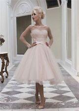 Vintage Long Sleeve Lace Tea Length Wedding Dress Short Tulle Bridal Gown