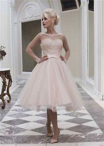 Vintage Long Sleeve Lace Tea Length Wedding Dress Short Tulle Bridal ...
