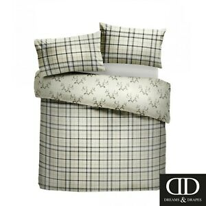Dreams-amp-Drapes-Stag-Single-Bedding-Set-Check-Tartan-Duvet-Quilt-Cover-Cotton