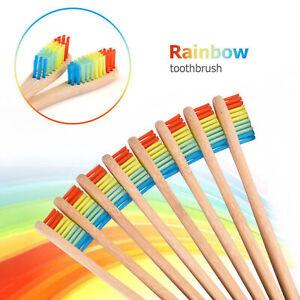 10X-Mittel-Borsten-Bambu-Zahnbuerste-Regenbogen-Holz-Zaehne-Pinsel-Faser-Holz-Hand