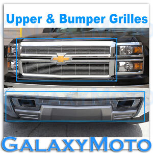 14-15 Chevy Silverado 1500 Chrome Upper+Lower Bumper Billet Grille Overlay Combo