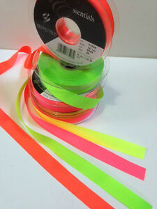 Berisfords-NEON-FLUORESCENT-Grosgrain-Ribbon-4-Shades-Hi-Viz-6mm-to-40mm