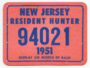 Vintage 1951 New Jersey Hunting License Ebay