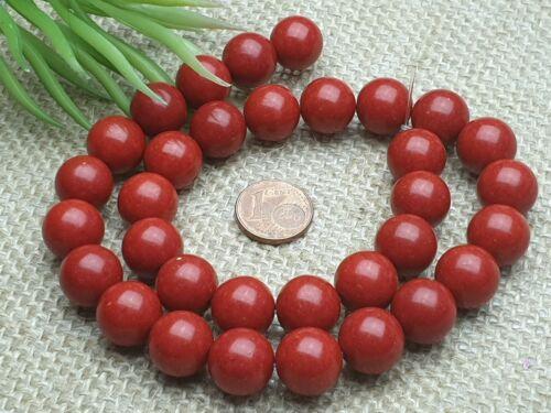 Strang 39 cm Edelstein Perlen syntetische Koralle rot rund Kugel 12 mm