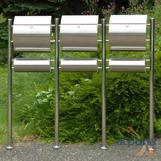 Dreier-Standbriefkasten 3er Edelstahl Briefkasten RICO