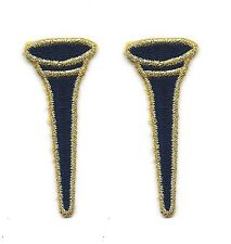 """Lot of 2 pc 7/8"""" x 2 1/8"""" Black Gold Metallic Golf Tee Embroidered Patch"""