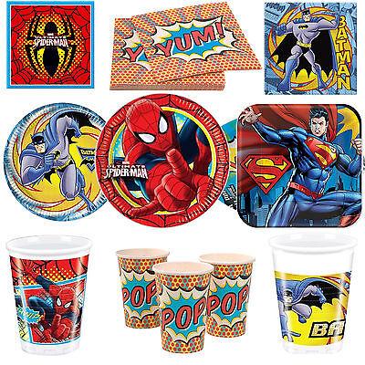 Spiderman Batman Superman Superhero Boys Party Tableware Plates Cups Napkins