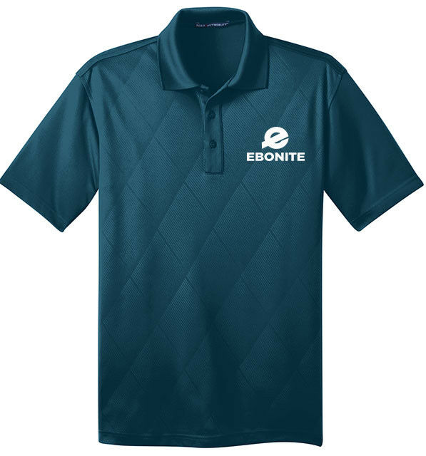 Ebonite Men's Big One Performance Polo Bowling Shirt Dri-Fit Argyle Teal bluee