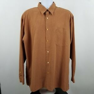 Bugatchi-Uomo-Men-039-s-L-S-Casual-Button-Shirt-Orange-Check-Sz-XL