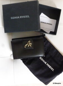 Sonia-RYKIEL-Porte-monnaie-cartes-noir-SR-Neuf-avec-boite