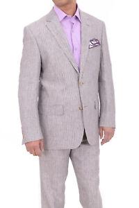 100% De Qualité Hommes 42s Raphael Coupe Classique Gris Fins Rayures Deux Bouton Costume En Lin