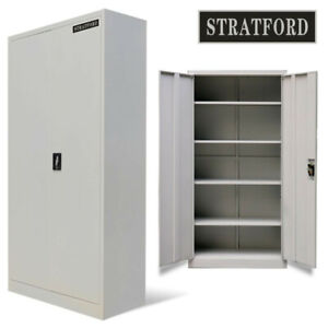Stratford-195cm-Tall-Light-Grey-2-Door-Metal-Storage-Filing-Cupboard-Cabinet