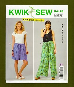 Easy-Wrap-amp-Tie-Pants-or-Shorts-Learn-to-Sew-Pattern-Sizes-XS-XL-Kwik-Sew-4178